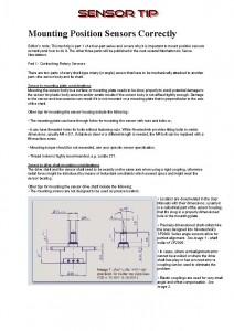 Sensor Tip Mounting Position Sensors Correctly
