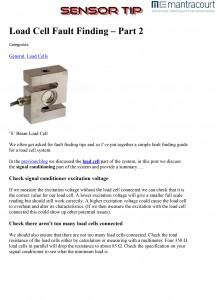 Sensor Tip Loadcell Fault Finding
